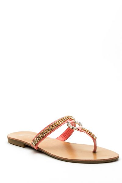 Diamante Strap Open Back Flat Sandals
