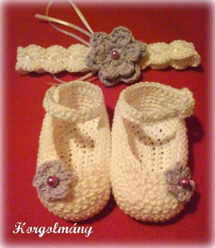 Horgolmány, crochet baby headband, shoes