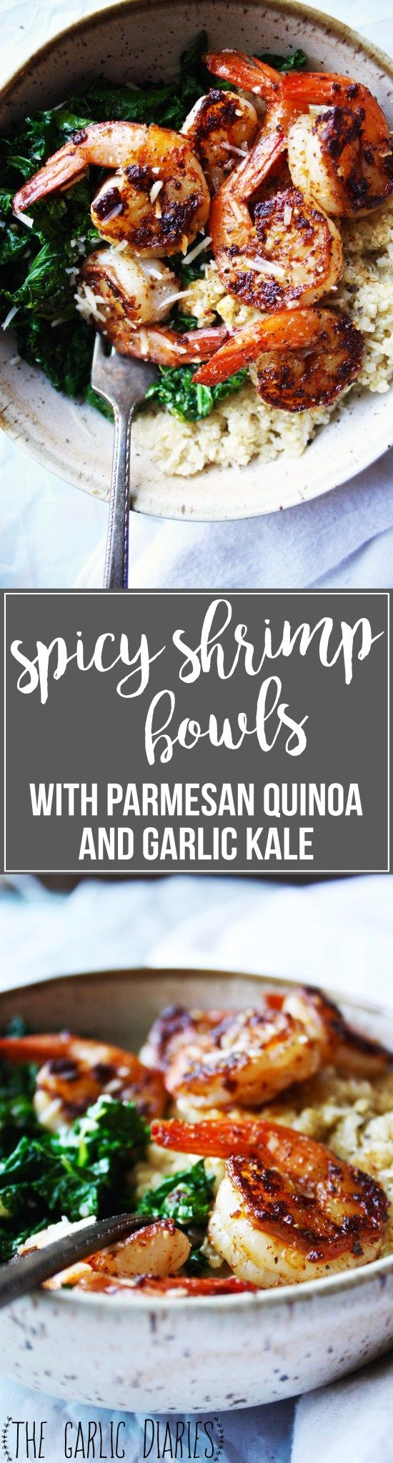 Spicy Shrimp Bowls with Parmesan Quinoa and Garlic Kale [21 Day Fix friendly] - These healthy bowls are quick and easy to make, and they pack SO much fantastic flavor! It's a winner all around! #21dayfix #glutenfree TheGarlicDiaries.com