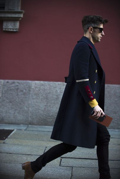NOTE/IDEA :  coat pattern/style -- See the best dressed men who turned up to Milan fashion week A/W '16