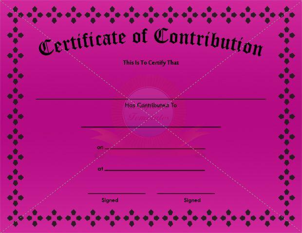 Contribution Certificate Template