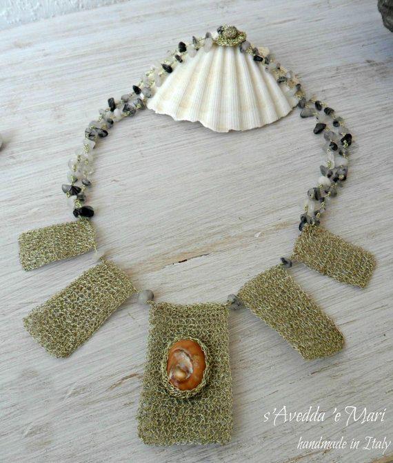 Koper en schelp ketting sieraden en juwelen met door sAveddaeMari