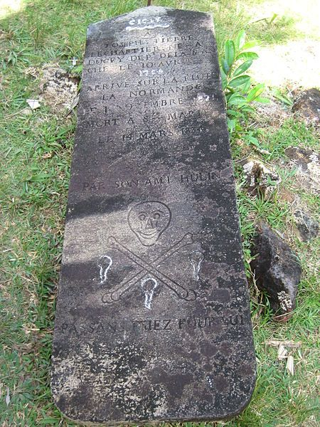 """The Pirate Cemetery of Madagascar is the world's оnly pirate graveyard; surprisingly, however, this is the only stone sporting the familiar """"skull & crossbones"""" icon"""