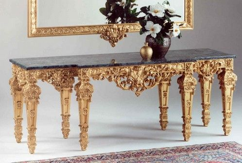 Faithful reproduction of a console table in the Louis XV style is hand-carved, lacquered gold leaf background with chalk, marble natural green Acceglio.