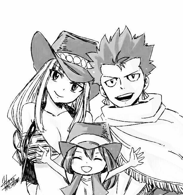 Asuka, Bisca, Alzack, family, Connell family; Fairy Tail