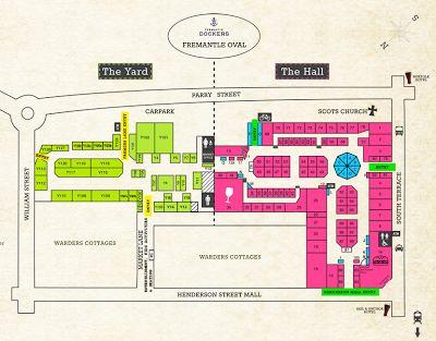 Map of Fremantle markets in Western Australia