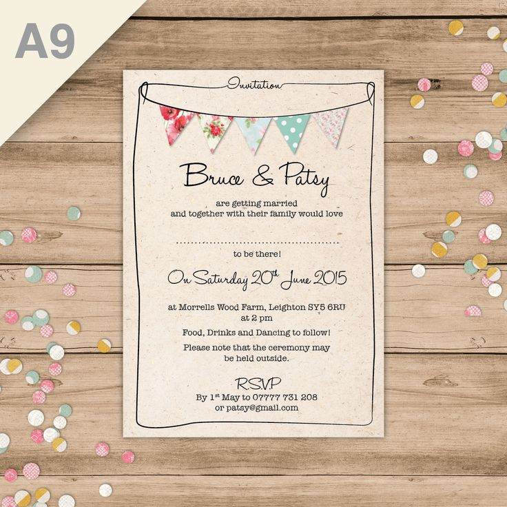 An adorable, stylish bunting invitation perfect for a summer, outdoor or festival-themed wedding.