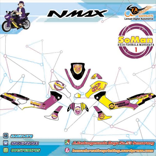 Custom Decal Vinyl Full Body Striping Motor Yamaha N-MAX Thema Branding Usaha Garansi 6 Bullan By DIGITIVE