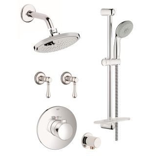 View the Grohe GSS-Europlus-CTH-07 Europlus Thermostatic Shower System with Rain Shower Head, Handshower, Slide Bar, and Volume Controls - All Valves Included at Build.com.