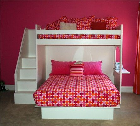 Bunk bed. Like the idea of bed below, cosy space for reading or sleepover above. For kid not me!!