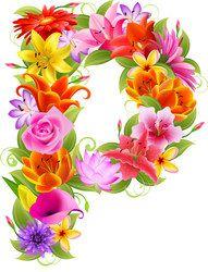 Буква р из ярких цветов
