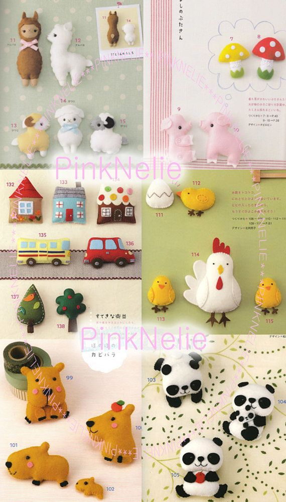 Handmade Cute felt animals.  Japanese Craft Book. - Book no longer available but these are adorable ideas!