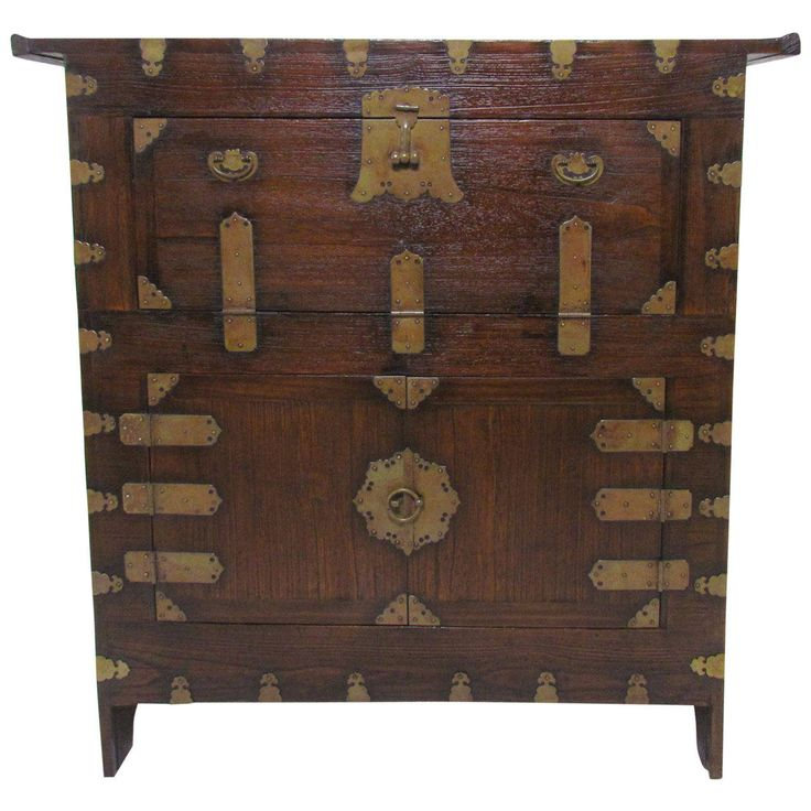 Antique 19th Century Korean Cabinet or Bandaji Chest with Brass Hardware | From a unique collection of antique and modern blanket chests at https://www.1stdibs.com/furniture/storage-case-pieces/blanket-chests/