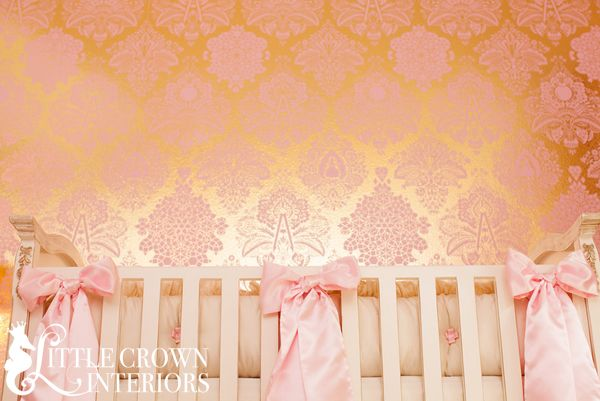 Our bestselling Metallic Gold and Pink Damask Wallpaper - at the Little Crown Interiors Boutique