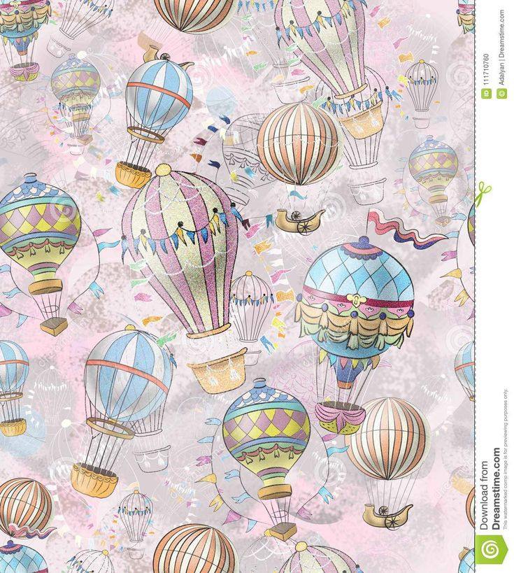 Vintage hot air balloon, Antique Pattern With Motifs From Balloons Stock Illustration - Illustration of notebook, factory: 111710760