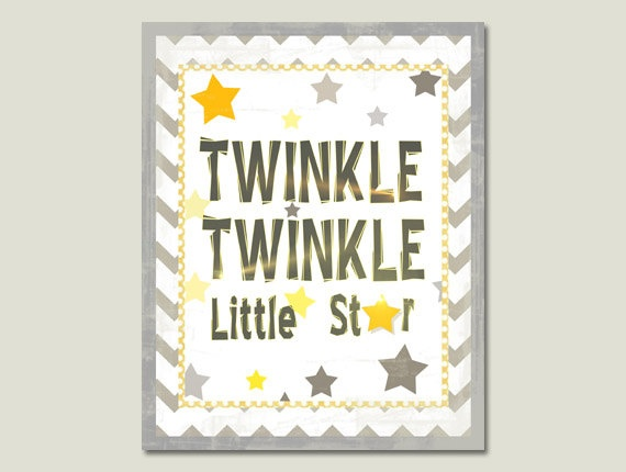 Twinkle Twinkle Little Star, Yellow Grey Nursery, Star Nusery, Gender Neutral Nursery 8x10. $12.00, via Etsy.