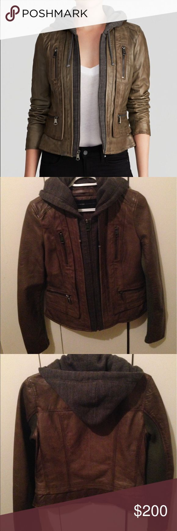 Marc New York by Andrew Mark Mila Leather Jacket Marc New York by Andrew Marc 'Mila' Knit Hood Leather Jacket. Worn twice, great condition. Andrew Marc Jackets & Coats