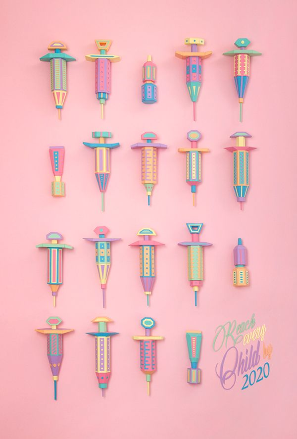 Vaccine needles and syringe pastel colored props. Paper crafts art direction project. The Art of Saving a Life by Zim & Zou.