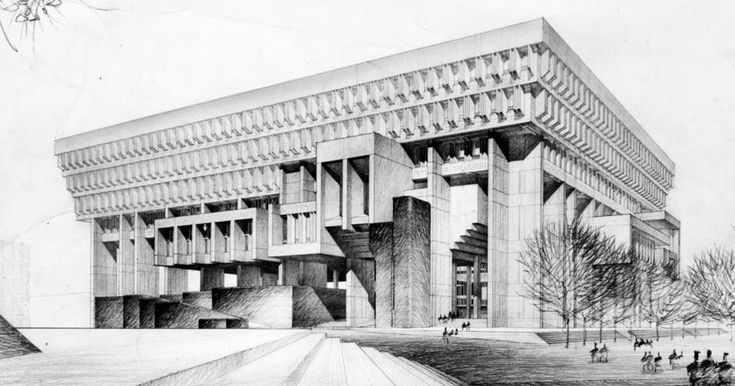 An architectural rendering of Boston City Hall, which was the subject of an unusual design competition in the early 1960s.