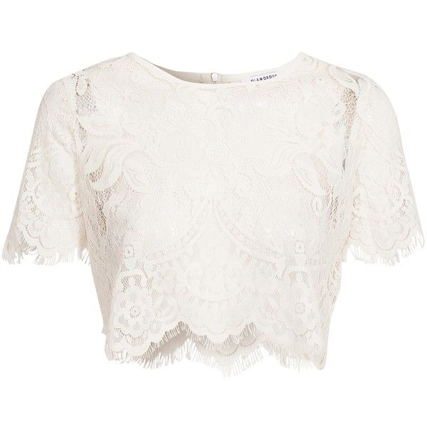 Glamorous Crochet Crop Top ($44) ❤ liked on Polyvore featuring tops, shirts, crop top, cream, womens-fashion, fringe crop top, white shirt, white short sleeve shirt, white lace shirt and short sleeve shirts