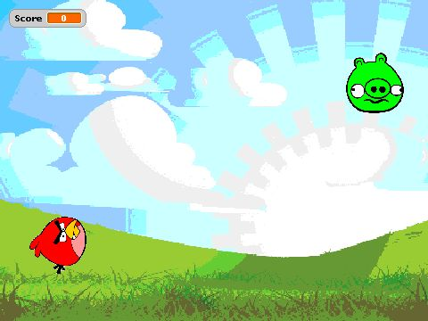 simple Scratch programming of an Angry Birds-style game.