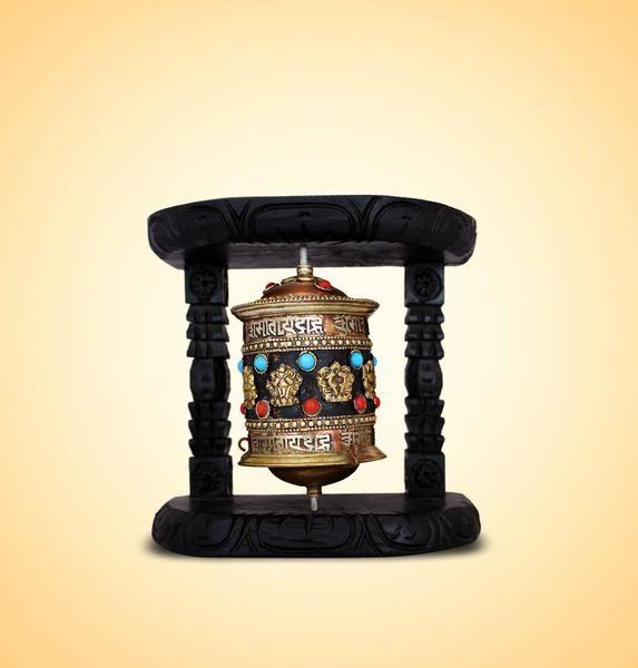 Wood Frame Tibetan Prayer Wheel with Multicolour Stones  @devotionalstore