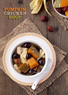 Pumpkin Chicken Soup - an Asian inspired soup.