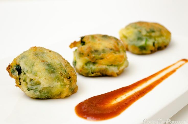 Croquetas de espinacas, patata y maiz - Receta facil