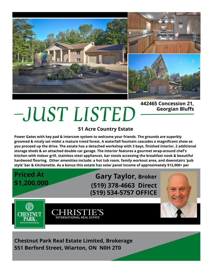 Spectacular 51 acre country estate with trails throughout. As a bonus this estate has solar panel income of approximately $12,000+ per year. Call for your appointment today - 519.534-5757.
