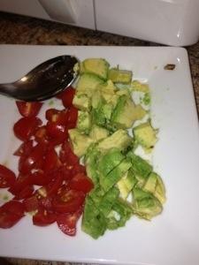 Breakfast avocado and tomato omelet