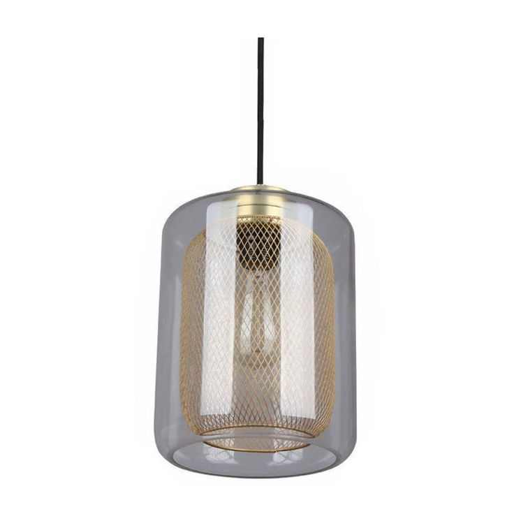Glass Pendant Light - Industrial Style With Brass Mesh - Tono | CLA