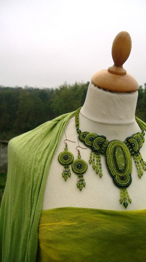 Nymph - Bead Embroidered Necklace And Earrings After long and happy hours of creative work this necklace was born with the matching earrings. The living green of nature is slowly dying now, but here is my uniqe, self-designed set. Zazie's Little Bead Embroidery Shop.