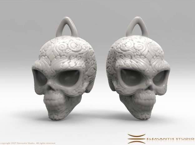 Day of the Dead/ Halloween Skull Earrings  2.5cm in White Premium Strong & Flexible