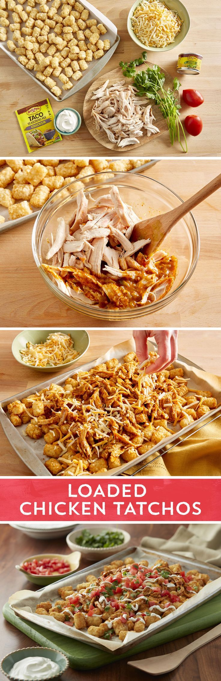 Why should you have to choose between your love for nachos and your desire for tots? You don't have to with these Loaded Chicken Totchos! Top baked tots with Old El Paso™ green chiles, shredded chicken flavored with Old El Paso™ chicken taco seasoning, and cheese before putting them back in the oven. Finish it off with your favorite nacho fixings and be prepared to never have plain tots or regular nachos again.