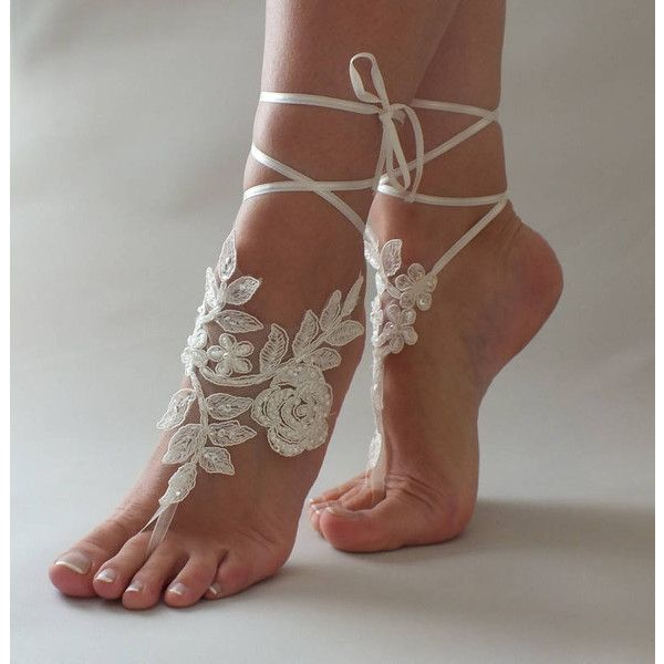 Beach wedding Barefoot Sandals Ivory White Pearl Hand process Lace... ($29) ❤ liked on Polyvore featuring shoes, sandals, lace-up sandals, bridal shoes, pearl sandals, bride wedding shoes and evening sandals