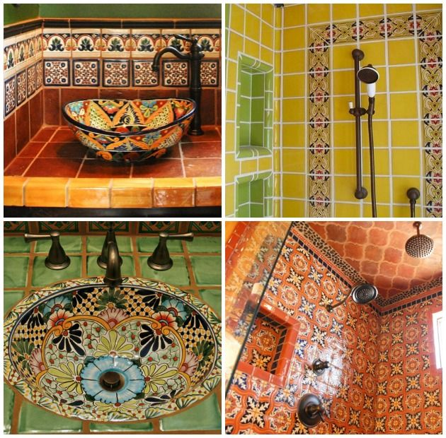 Bathrooms decorated with Talavera Tiles | Paint + Pattern