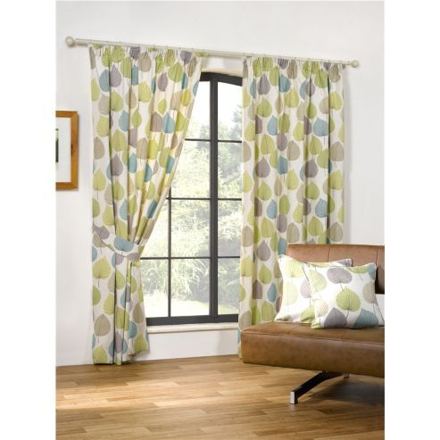 woodland pencil pleat curtains 168 x 229cm green