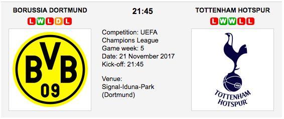 Dortmund vs Tottenham predictions for their UEFA Champions League - Group H match at Signal-Iduna-Park (Dortmund) on Tuesday 21 November 2017. Dortmund vs Tottenham Match Date: 21 November 2017 (local time) Venue: Signal-Iduna-Park (Dortmund)