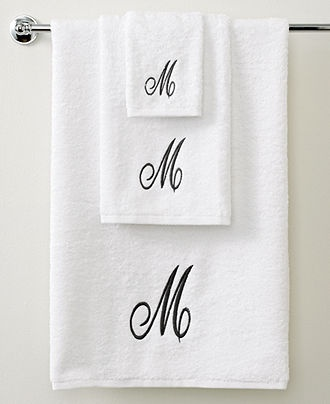 Avanti Bath Towels, Initial Script White and Silver Collection - Bath Towels - Bed & Bath - Macys