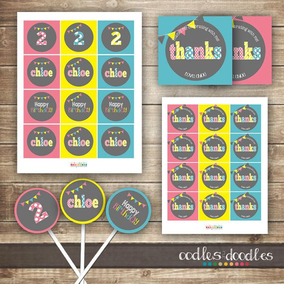 Pink and Turquoise Girl's Birthday Party Favors & Cupcake Toppers  | Party Printables by Oodles and Doodles | OandD.etsy.com | Oodles and Doodles.com