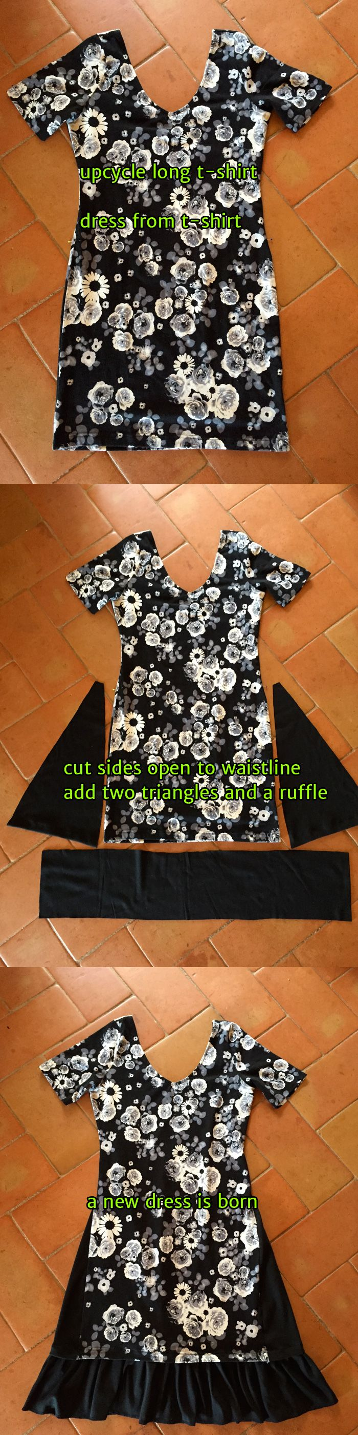 Upcycle t-shirt / dress out of t-shirt: Loved the print of the shirt, bought in sales. But too short and too tight for my age ;-) So I made it into a cute dress