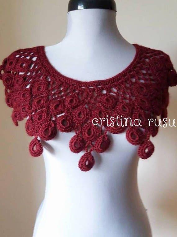 Bordeaux  lace collar crochet Collar Handmade detachable
