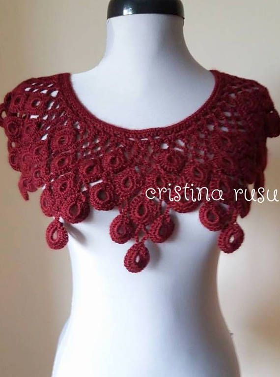Bordeaux  lace collar crochet Collar Handmade detachable