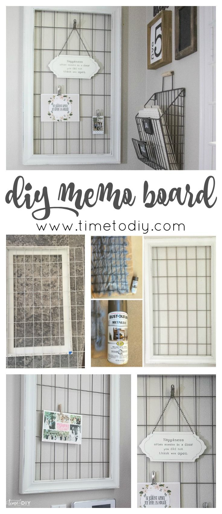 DIY memo board upcycled from a crib spring frame