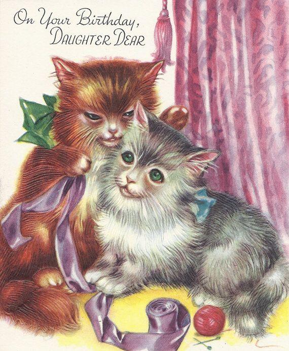 M390 Vintage Happy Birthday Daughter Cats By Jarysstuff On