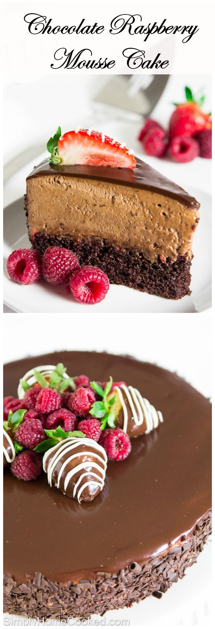 This chocolate raspberry mouse cake has it all. A moist chocolate cake base, rich and creamy mousse, and a little bit of tartness from the raspberry jam.