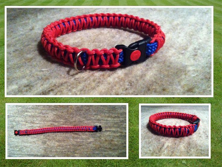 Luxe halsband, blauw met rode macramé. Kliksluiting met vergrendeling (rode schuifknop). Past goed bij zowel rode als blauwe leiband. Dit type kan ook verkregen worden in andere kleuren. - See more at: http://www.4sanca.be/products-page/halsbanden/#sthash.IoMhPeI8.dpuf