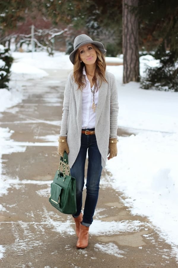 To create an outfit for lunch with friends at the weekend consider teaming a grey shawl cardigan with deep blue skinny jeans. For footwear go down the classic route with tobacco leather booties.  Shop this look for $250:  http://lookastic.com/women/looks/ankle-boots-satchel-bag-skinny-jeans-gloves-belt-shawl-cardigan-dress-shirt-hat/4365  — Tobacco Leather Ankle Boots  — Dark Green Leather Satchel Bag  — Navy Skinny Jeans  — Tan Wool Gloves  — Tobacco Leather Belt  — Grey Shawl Cardigan  —…