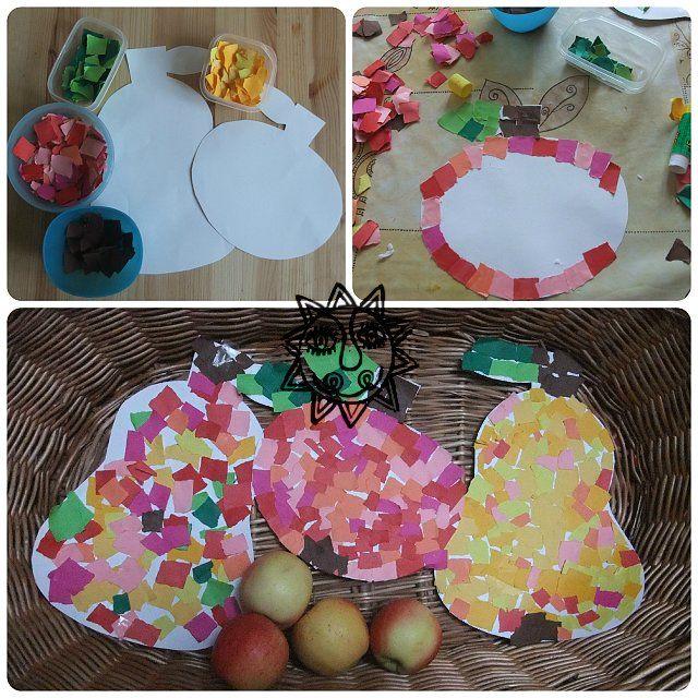 Výtvarný nápad pro malé děti, tvoříme s dětmi na podzim, tvoření jablko a hruška.