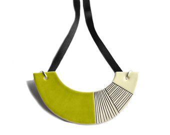 White statement necklace ceramic jewellery unique by islaclay